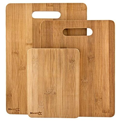 All Natural Bamboo 3 Piece Set Cutting Board Kitchen Wood Ch