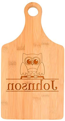 Customized Last Cute Owl Gift Personalized Paddle Bamboo Board
