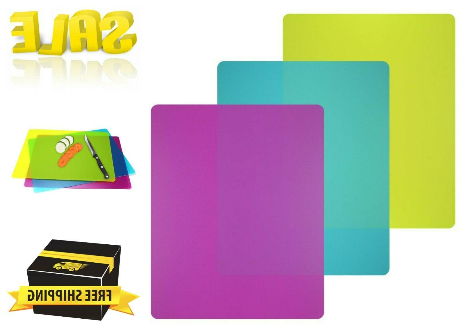 3 Pack Colorful Plastic Cutting Board Mats Set Flexible  BPA
