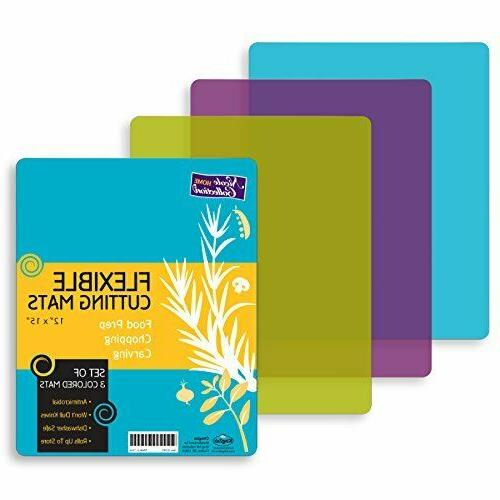 Flexible Plastic Cutting Board Mats Cutting Kitchen Set of 3