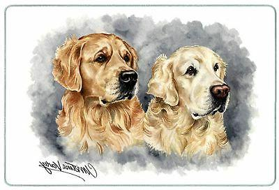 golden retriever duo tempered glass cutting board