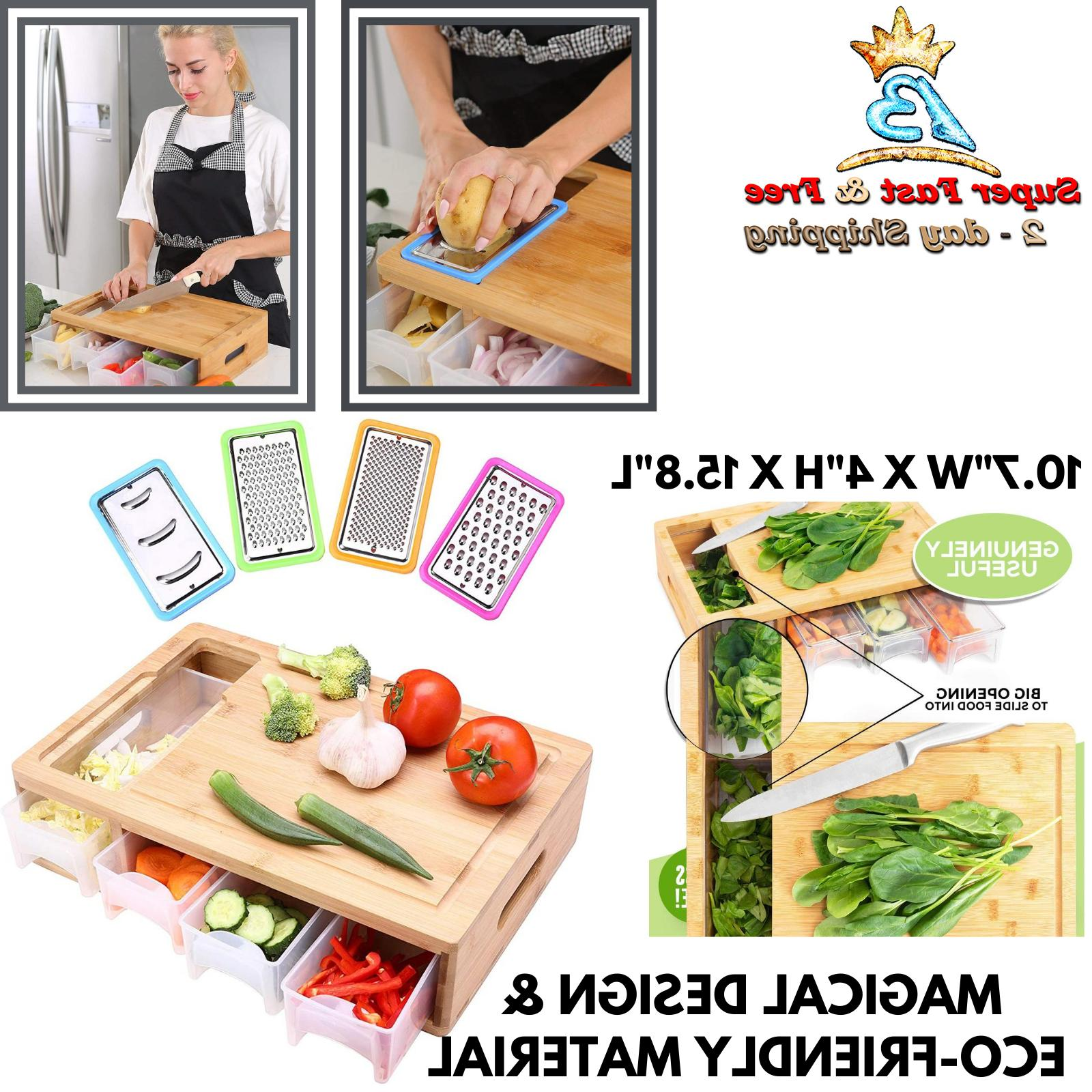 Large Chopping Bamboo Mat Cutting Board With Drawer Tray Con