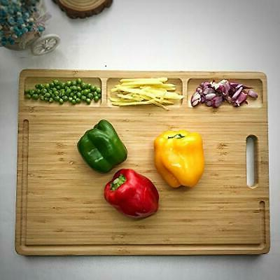 HHXRISE Large Cutting Board Kitchen, With 3 Built-In