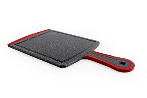 "Neoflam 7"" Board Paddle Black Marble Red - BPA Dishwasher Safe, Microban Antimicrobial Protection"