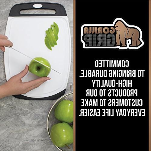 GORILLA Reversible Cutting Board BPA Free, Grip Handle, Boards Extra and Juice Grooves