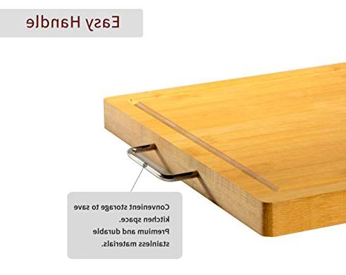 "VUMM Cutting Board x12.5"" 】, Stainless steel handle Heavy Duty Chopping Board For Bread Carving Free"