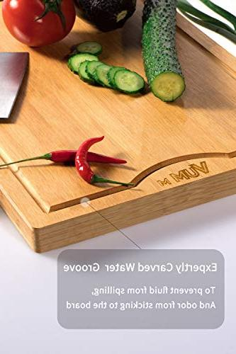 "VUMM Cutting Board For Kitchen【19"" x12.5"" x1.1"" Stainless steel Chopping For Bread Fruits, Butcher Carving Board BPA"