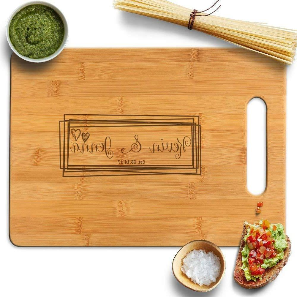 Froolu Overlaping Squares laser engraved cutting board for M