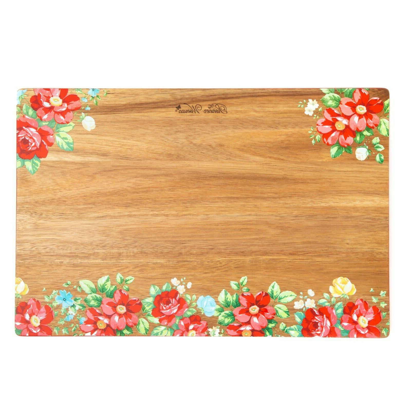 The Pioneer Woman Spring Floral Acacia Wood Cutting Board 12