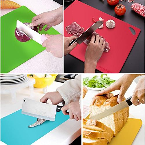 Fu Thick Flexible Plastic Kitchen Cutting Board Set, of with Easy-Grip & FDA Approved,