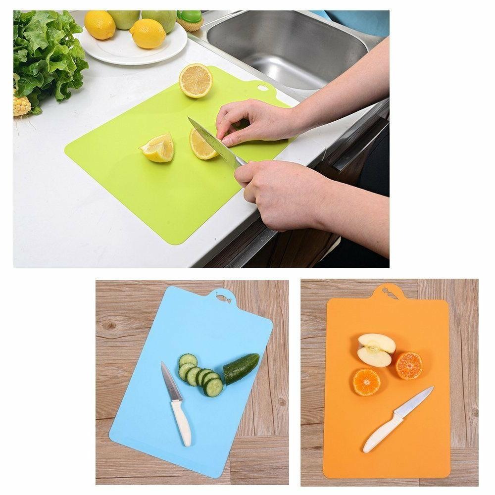 Set of 3 Flexible Cutting Board Mats Wit Label Food Icons Th