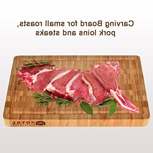 Thick Grain Wood Cutting Board/Kitchen Block - Heavy Chopping Board Juice Grooves Handles. for and Housewarming Gift