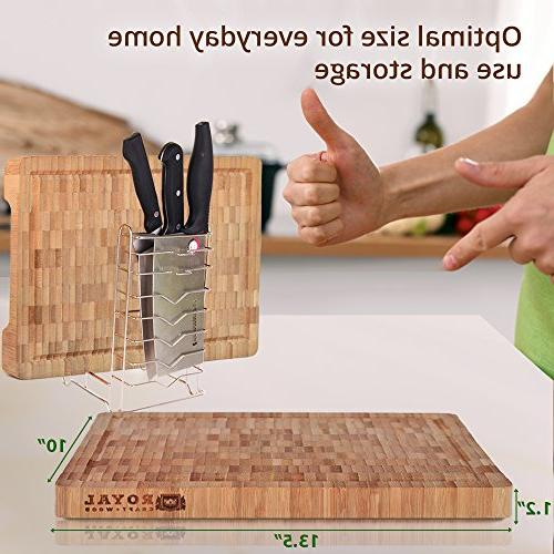 Thick Wood Block - Duty Chopping Board Juice Grooves and for Carving and Housewarming Gift