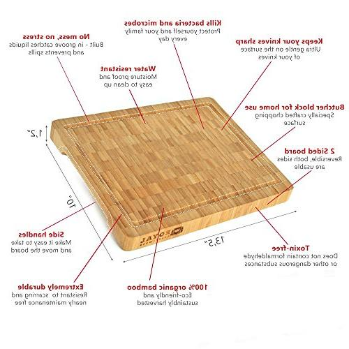 Thick Grain Bamboo Wood Block - Duty Chopping Grooves for and | Housewarming