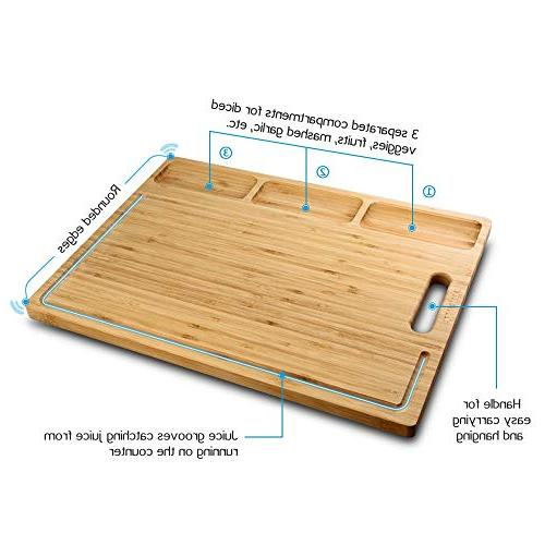 HHXRISE Organic Bamboo Cutting Board For Kitchen, Built-In Compartments Juice For Meats Butcher Block, Carving BPA
