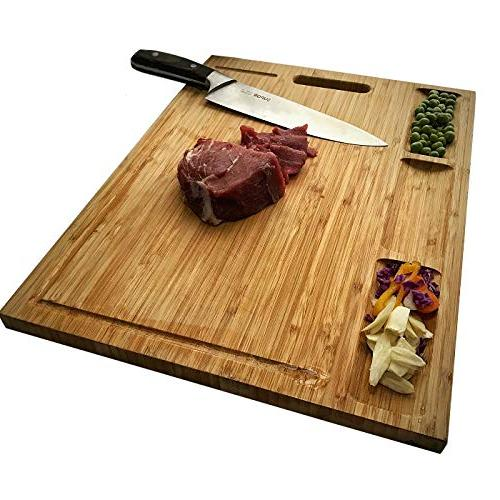 HHXRISE Bamboo Kitchen, Compartments And Heavy Chopping For Fruits, Butcher Block, BPA