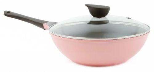 wok with glass lid 12inch ceramic nonstick