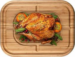 Bamboo Cutting Board for Carving Turkey - Wood Butcher Block