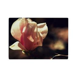 Magnolia Flower Pink Brown Glass Cutting Board - Small Size