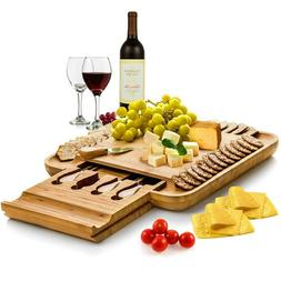 natural bamboo cheese board set wooden charcuterie