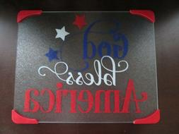 New God Bless America Patriotic Tempered Glass Cutting Board