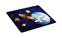 Ambesonne Outer Space Cutting Board, Rocket on Planetary Sys