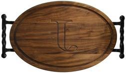 BigWood Boards Oval Monogrammed J Cutting Board Twisted Ball