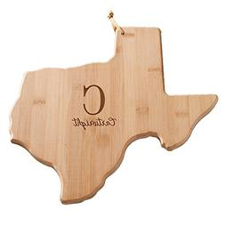 Personalized Family Initial Texas State Cutting Board, Bambo
