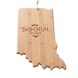Personalized Family Name Indiana State Cutting Board, Bamboo