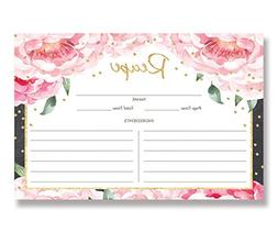 Pink Peony Recipe Cards  4x6 inches. Double Sided Pink Peoni