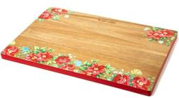 "Pioneer Woman Vintage Floral Red Large 12"" x 18"" Acacia Wood"