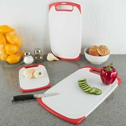 Plastic Cutting Board Set of 3 Chopping Boards Juice Groove