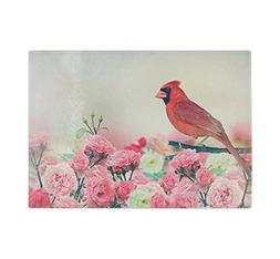 Red Cardinal In Rose Garden Kitchen Bar Glass Cutting Board
