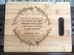 THE RING Engraved Wooden Bamboo Cutting Board Kitchen Gift L