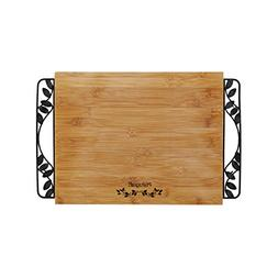 Pfaltzgraff Rustic Leaf Bamboo Cutting Board with Metal Hand