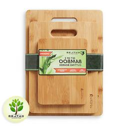 Set of 3 Bamboo Cutting Boards w/ Handles Kitchen Wood Carvi