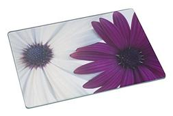 Rikki Knight Sharp Color Purple and White Daisies Large Glas