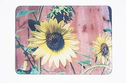 Sunflowers Against Red Barn Wood Glass Cutting Board