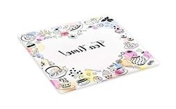 Ambesonne Tea Party Cutting Board, Cute Doodle Style Frame w