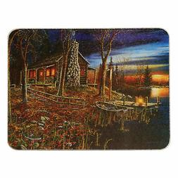 River's Edge Tempered Glass Cutting Board with Beautiful Lak