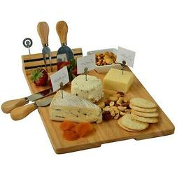 Picnic at Ascot Windsor Hardwood Cheese Board with 4 Tools,